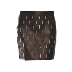 Anthony Vaccarello Open-leg embellished leather skirt (5.975 BRL) ❤ liked on Polyvore featuring skirts, mini skirts, black, high-waist skirt, cut out skirt, anthony vaccarello, leather mini skirt and embellished mini skirt