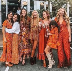 Orange dresses collection by 🧡✨🧡✨🧡 Ibiza Fashion, 70s Fashion, Vintage Fashion, 60s Hippie Fashion, Club Fashion, Gypsy Fashion, Korean Fashion, Winter Fashion, Womens Fashion