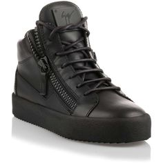 Giuseppe Zanotti Black leather high-top enamel sneaker ($650) ❤ liked on Polyvore featuring shoes, sneakers, high top sneakers, black trainers, black hi tops, black leather shoes and leather high tops