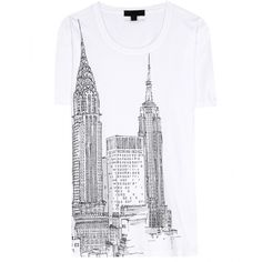 Burberry Prorsum Printed Cotton T-Shirt ($225) ❤ liked on Polyvore featuring tops, t-shirts, shirts, tees, t shirt, white, burberry tops, white cotton t shirts, white top and white tee