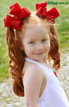 Pigtail Hairstyles, Twist Hairstyles, Cute Hairstyles, Curly Hair Styles, Natural Hair Styles, Pageant Hair, Baby Girl Accessories, Natural Redhead, Hair Ribbons