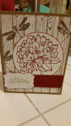 Sympathy card I made using Stamp'in up hard wood background stamp, cherry cobbler.