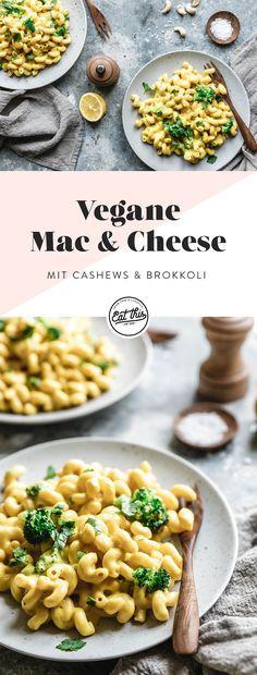 Probier' doch mal unsere superschnell gekochten und genial leckeren veganen Mac & Cheese mit einer unglaublich cremig-käsigen Sauce aus Kartoffeln, Karotten, Cashewkernen, Knoblauch und Hefeflocken! Dazu packen wir Brokkoli für die Extraportion Gemüse. Oh yeah!