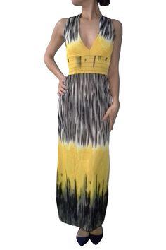 Yellow & Black Maxi Halter Dress!