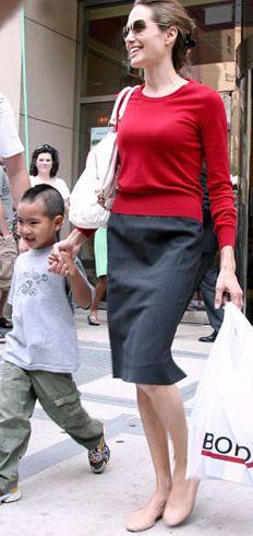 Angelina Jolie and Theory Golda Pencil Skirt Photograph