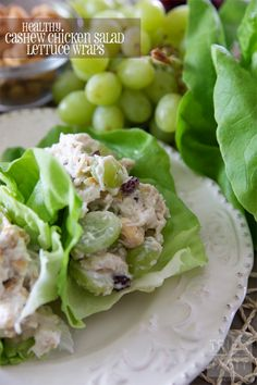 Healthy Cashew Chicken Salad Lettuce Wraps | These healthy wraps are super simple thanks to rotisserie chicken! Great flavor and completely guilt free. You'll never guess the secret ingredient that makes them EXTRA healthy! | Tried and Tasty
