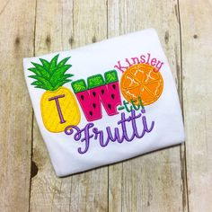 Two-tti+Frutti+Birthday+Shirt++Fruit+Second+by+MonogramParade Fruit Birthday, 2nd Birthday Party Themes, Second Birthday Ideas, Girl 2nd Birthday, Summer Birthday, Fruit Party, Tropical, Party Signs, Birthday Shirts