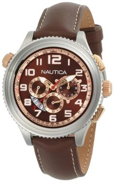 Men's Wrist Watches - Nautica Mens N25014G OCN 46 Brown Dial Watch >>> Details can be found by clicking on the image. (This is an Amazon affiliate link)