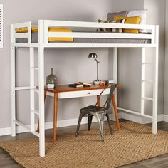Premium Deluxe Twin Metal Loft Bed - White - Saracina Home Bunk Bed With Desk, Bunk Beds With Stairs, Loft Beds, Ikea Twin Loft Bed, Safe Bunk Beds, Kid Beds, Casa Loft, Toddler Furniture, Comfy Bed