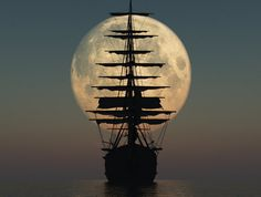 A beautiful photo of a boat sailing under a full moon. A night sailing on the water under a full moon has to be a pleasure. Beautiful Moon, Beautiful Places, Beautiful Scenery, Beautiful People, Cool Pictures, Cool Photos, Beautiful Pictures, Sea Pictures, Night Pictures