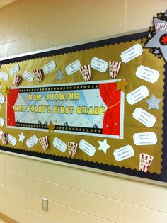 Hollywood theme bulletin board - Place on door for Meet the Teacher Star Themed Classroom, Red Classroom, Stars Classroom, 3rd Grade Classroom, Classroom Themes, Movie Classroom, School Wide Themes, Hollywood Theme Classroom, Red Carpet Theme