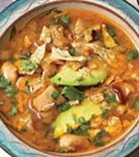 Chicken, lime, avocado soup