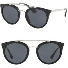 Prada 52MM Phantos Sunglasses ($285) ❤ liked on Polyvore featuring accessories, eyewear, sunglasses, apparel & accessories, black, double bridge sunglasses, prada eyewear, uv protection glasses, prada sunglasses and lens glasses