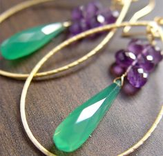 Onyx Ametyst Cluster Earrings