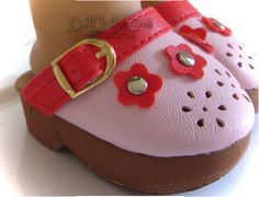 """Pink Red Platform Clogs Shoes made for 18"""" American Girl Doll Clothes #Unbranded"""
