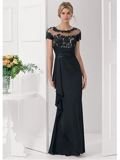 Long Illusion Neckline Lace Chiffon Mother of  The Bride Dresses 99503028
