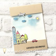 Folienkarte, Glückwunschkarte mit Klarsichtfolie und dem Stadt, Land, Gruß von Stampin´Up!