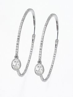 White Gold Medium Diamond Hoop Earrings with Round Bezel-Set Diamond Charm