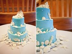 gateau mariage theme bleu tiffany mer
