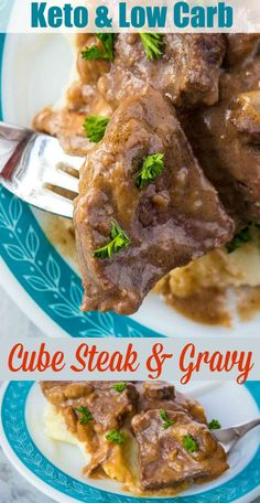 Instant Pot Low Carb Cube Steak and Gravy is made SO fast thanks to pressure cooking it in your Instant Pot! The beef becomes tender and the mushroom gravy is drinkable! This comes to 6 net grams of carbs per serving. #keto #lowcarb #cubesteak #meat #instantpot #pressurecooker #pressurecooking #beef #mushroom #gravy #southbeach #protein