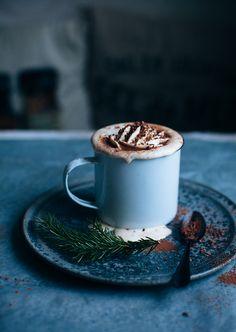 Hot chocolate with cinnamon and orange liqueur.  YUM.