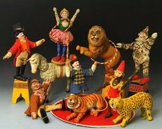 Humpty Dumpty Circus animal and performer set with hand carved wooden figures, United States, 1915, by A. Schoenhut and Co.