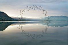 Central Otago, New Zealand artist Martin Hill 'Synergy' Raupo stems (bulrush), linen threads