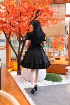 a2e1e38fc07 Black cotton classical Lolita dress short sleeve daily dress Manluyunxiao