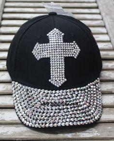 a0fe510a1ea6 Black Baseball Cap with Bling Crystal Cross. Black Baseball CapBaseball  HatsGiddy Up GlamourCrystal ...