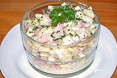 Käsesalat – einfach & lecker, ein beliebtes Rezept aus der Kategorie Eier & Kä… Cheese salad – simple & delicious, a popular recipe from the category of eggs & cheese. Egg Recipes, Cheese Recipes, Salad Recipes, Snacks Recipes, Sandwich Recipes, Chicory Salad, Egg Salad Sandwiches, Hamburger Meat Recipes, Cheese Salad