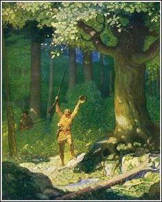illustration by N.C. Wyeth for Fenimore Cooper's The Deerslayer