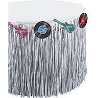 Sock Hop 50s Party Supplies - Rock-N-Roll Silver Fringe Table skirt - Party City