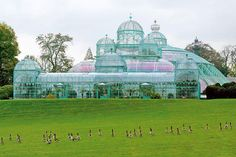 Conservatory - greenhouse in Brussels, Belgium. Built for Belgian King Leopold 11 in Best Greenhouse, Greenhouse Plans, Architecture Classique, Architecture Design, Art Nouveau, Wooden Greenhouses, Glass Building, Royal Garden, Belle Villa