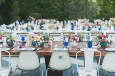 Mid-century modern inspired tablescape + chairs