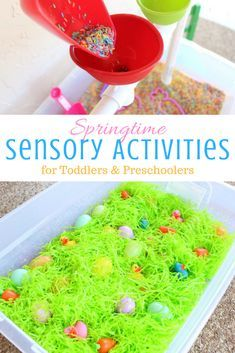 Easter Learning Activities for Preschoolers, spring sensory activities for preschoolers, spring activities early years, spring sensory bin, easter egg hunt
