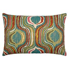 John Lewis Miami Cushion, Blue Online £45.  Unsure if colours are quite right but does offer green & yellow into equation and would be more geometric for you.