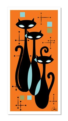 ATOMIC KITTY Art Print Inspired by Retro Mid by AtomicKittyArt
