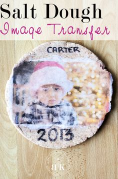 Salt Dough Craft using Image Transfer Medium. A great gift for parents and grandparents. Super easy Christmas craft