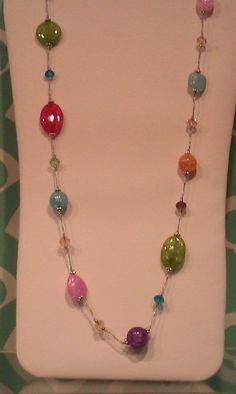 "20333-Jelly bean 38""w/3""extender Necklace  glass beads"
