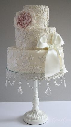 Wedding Cake with Floral Detail and Bow, Chandelier Cake Stand