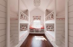 bunks with stairs ----- could become a bunk-room in a River Cottage if needed some year down the road. Safe Bunk Beds, Double Bunk Beds, Bunk Beds Built In, Cool Bunk Beds, Bunk Beds With Stairs, Kids Bunk Beds, Loft Spaces, Small Spaces, Small Rooms