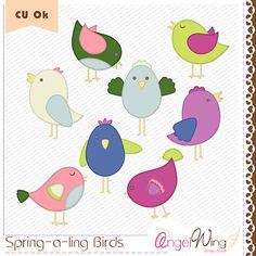 Spring-a-ling Birds Digital Clip Art