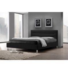 Superbe lit contemporain illuminera votre chambre moderne, avec son chic tête de lit, son beau piétement en métal chromé et sa structure en bois recouverte ...