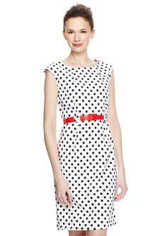 Classic White/Black Belted Polka Dot Sheath Dress