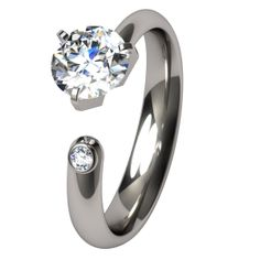 Trixie Solitaire Gem Titanium Ring I would have purple for the inset gem