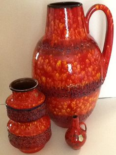 Scheurich west german vases by 2 and a tiny ES keramik