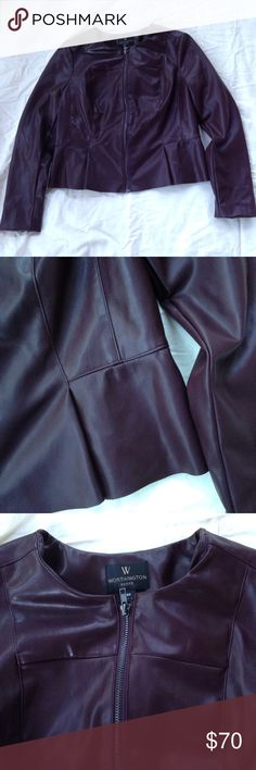 Faux Leather Jacket Brand new, gorgeous maroon Faux leather jacket in a petite size 6 by Worthington. 🌸 All offers are welcome 🌸 Worthington Jackets & Coats Blazers