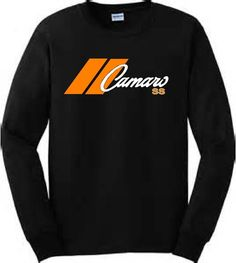 Chevy Camaro Black Tshirt Racing Stripe Long Sleeve Motorsport Musclecar Tee  #Gildan #LongSleeve