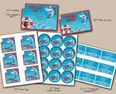 Shark Bite Birthday Party 5Piece Printable Package by MelissaKaneDesigns, $31.99