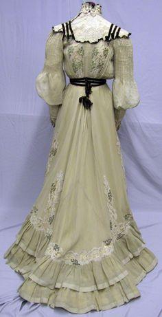 1206 Spectacular 1904 Lace Linen Promenade Ensemble   eBay